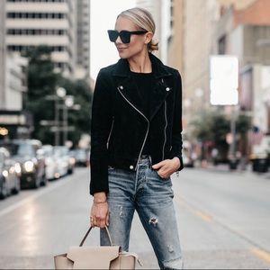BlankNYC Suede Moto Jacket in Black